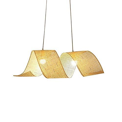 WISHVYQ E27 / E26 Tatami japonés Decoración Lámpara de Dormitorio Lámpara de araña de salón de té Tejida de bambú Simple nórdica Lámpara para Comedor, Sala de Estar Luces de Tienda