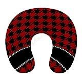 Flugzeug Nackenkissen für Reisen - Personalisierte Name Rot Schwarz Memory Foam Einstellbare Reisekissen zum Schlafen - Weiche Kopfstütze Nackenstütze