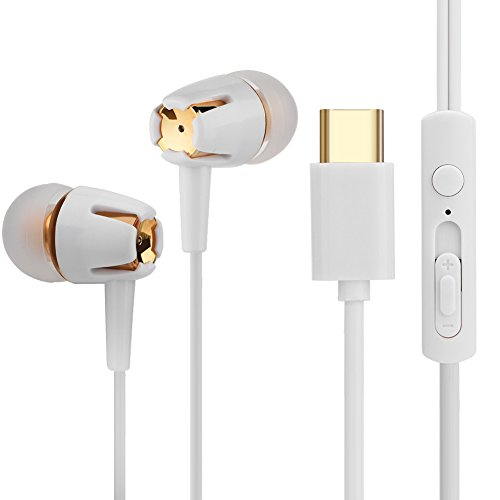 USB type C oortelefoons, in-ear kabel met sporthoofdtelefoon met microfoon ruisonderdrukking Compatibel met Google Pixel 3/2 / XL, Huawei, OnePlus Essential Phone
