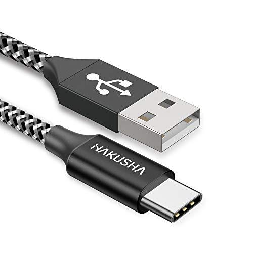 HAKUSHA Cable USB Tipo C 3M,Nylon Carga 3A Cargador Tipo C Rápida y Sincronización Cable USB C para Samsung S10/S9/S8te 10te 9,Xiaomi Mi A2/A1,Huawei P30/P20/Mate 20, Xperia XZ