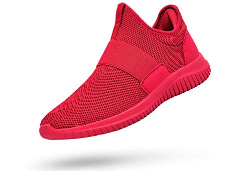 Troadlop Women Red Sneakers Slip on Red Tennis Shoes Laceless Casual Workout Shoes for Women Mesh Breathable Air Cushioneed Running Shoes 9.5 M US