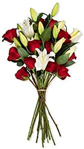 Benchmark Bouquets Red and White Roses - for Winter and Summer Wedding