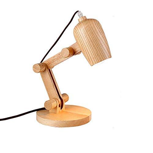 RongDuosi Creatieve lamp, Europees massief hout, slaapkamer, inklapbaar, hoofdlamp, tafellamp, landhuisstijl, eenvoudige lichtdecoratie voor thuis voor de woonkamer