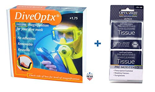 DiveOptx Hydrotac Stick-On Bifocal Lenses | Magnifying Adhesive Reading Lens Sticker | Sunglass Magnifier Add On | 1 Pair | Bundle with OPTX 20/20 20 Pack - Pre-Moistened Lens Tissues (+175)
