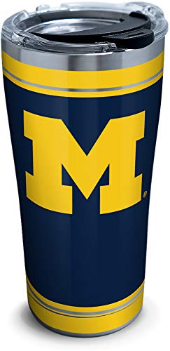 Tervis Michigan Wolverines Campus Stainless Steel Insulated Tumbler with Clear and Black Hammer Lid, 20 oz, Silver