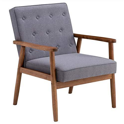 Sillón moderno de tela sofá de lectura con respaldo de madera, asiento individual, balcón, salón, dormitorio, oficina (75 x 69 x 84 cm), color gris