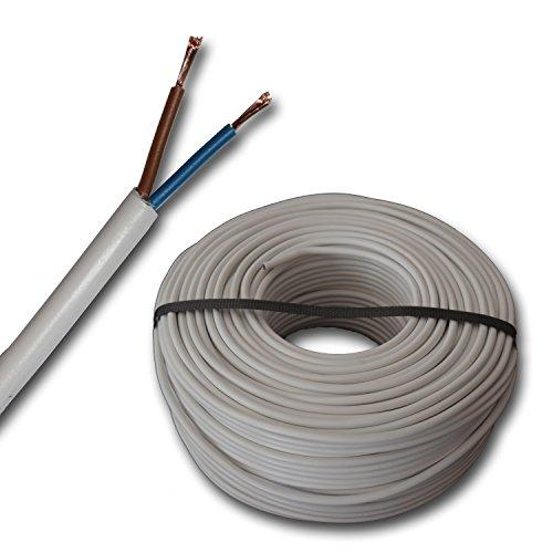 Kunststoff Schlauchleitung rund LED Kabel Leitung Gerätekabel H05VV-F 2x1,5 mm² (mm2) - Farbe: weiß 5m/10m/15m/20m/25m/30m/35m/40m/45m/50m/55m/60m usw. bis 100 m in 5 Meter Schritten frei wählbar