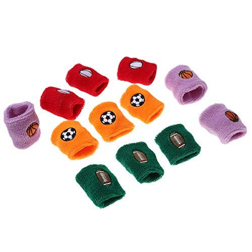 LIOOBO 12 STÜCK Kind Sport Armband Schweißband Laufen Basketball Handgelenkschutz Stretchy Schwammbänder für Kinder (Orange + Rot + Blau + Lila)