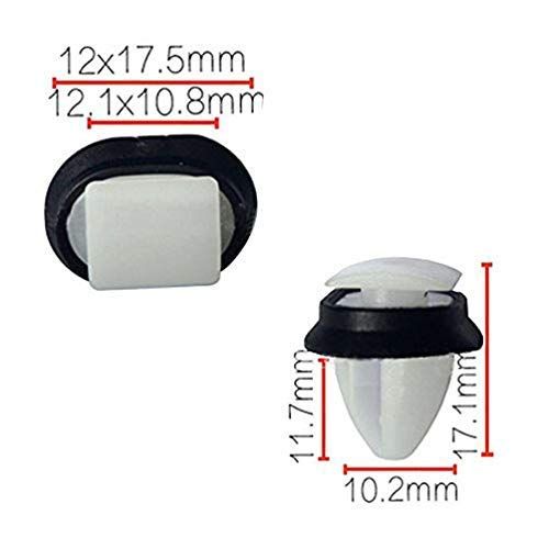 Lot de 10 rivets de retenue de voiture en plastique pour panneau intérieur 10,2 x 17,1 mm Blanc + Noir