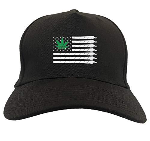 Marijuana American Flag - Weed Pot Leaf 5-Panel Snapback Hat (Black)