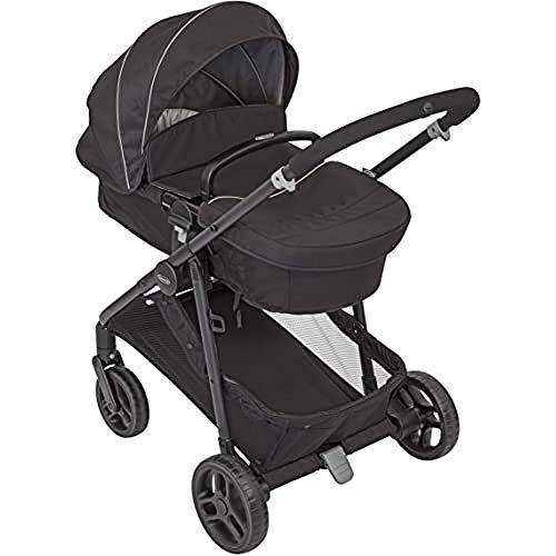 GRACO, Transform 2 in 1 Kinderwagenset Kombikinderwagen mit Babywanne und Buggy in einem klein zusammenklappbar mit Regenschutz und Fußsack 0-22 kg, Black