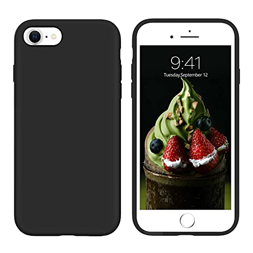 """YINLAI iPhone SE 2020 Case, iPhone 8 Case iPhone 7 Case,Premium Liquid Silicone Soft Gel Rubber Full-Body Protective Bumper Case Designed for iPhone SE 2nd/7/8 4.7"""" Black"""