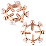 EXCEART 1 Pair Stainless Steel Nipple Ring Non-Piercing Nipple Rings Breast Clamps for Women Men (Rose Gold)