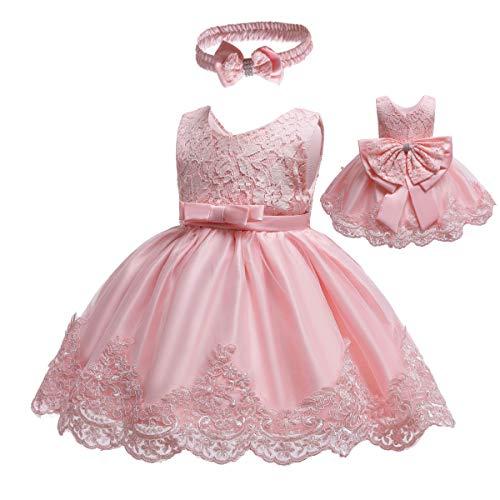Gaga city Mädchen Bowknot Spitze Prinzessin Kleid Blumenmädchenkleid Taufkleid Festlich Kleid Hochzeit Geburtstag Partykleid Festzug Babybekleidung Outfits Pink B/3M