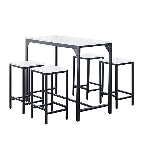 Modern 5 PCS Bar Breakfast Table and Stools Set of 4 Small Kitchen Dining Room Table and Chair Set for 4 People White Marble-like Wood Tabletop with Metal Frame Space-saving Apartment Furniture