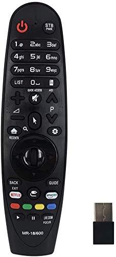 Tekeir - Mando a distancia compatible para televisores inteligentes LG – Magic Remote MR-18/600 – con MR18 MR-18B MR600/650 – Negro