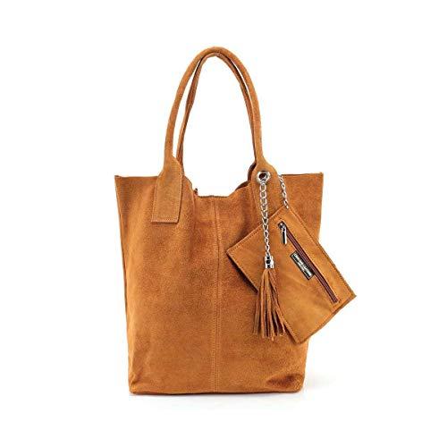 Made IN Italy Damen XXL Leder Tasche + Schmucktasche Handtasche Wildleder Shopper Schultertasche Fransen Umhängetasche Quaste Kette DIN-A4 Hobo Tote Bag Braun