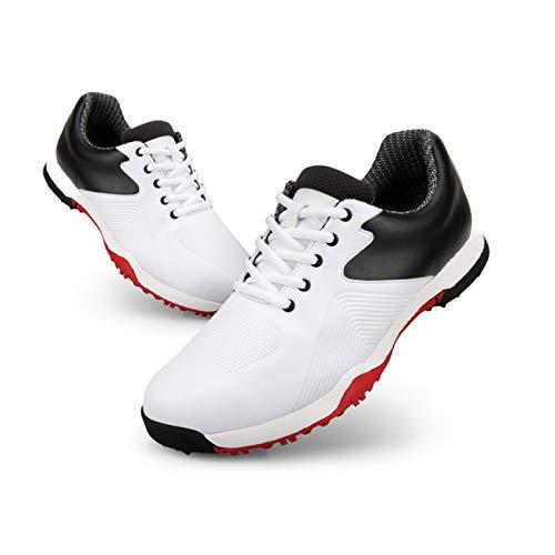CGBF-Zapatos de Golf Zapatillas Deportivas Impermeables Cómodas para Hombre Niño,Suela Blanda Calzado Deportivo Al Aire Libre,Blanco,41 EU