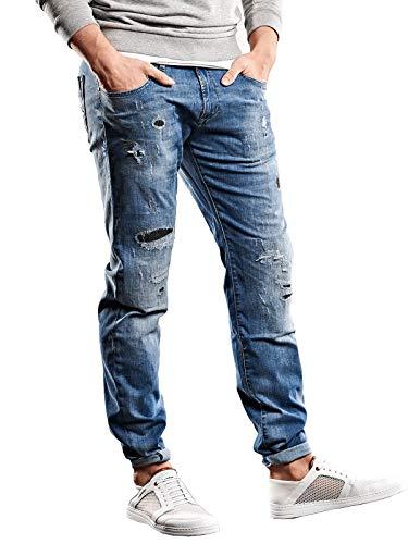 emilio adani Herren Destroyed-Jeans, 27418, Blau in Größe 34/32