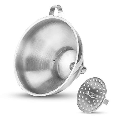Xruisin Trichter Edelstahl für die Küche Metalltrichter zum Befüllen von Flaschen Flüssigkeits- und Lebensmitteltransfer mit Sieb 14,5 cm