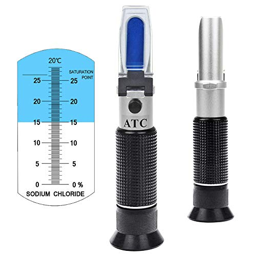 Salinity Refractometer 0~28% Scale Range, Measuring Sodium Chloride Content in Brine, Seawater and Industry. Salinometer for Food with Automatic Temperature Compensation (ATC)