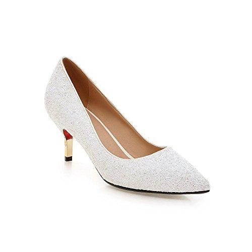 Odomolor Damen Spitz Zehe Ziehen auf Pailletten Rein Hoher Absatz Pumps Schuhe, Weiß, 36