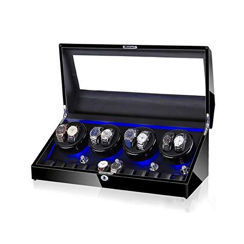 JIE KE Uhr und Schmuck Schublade Watch-Wickler für 8 Uhren + 12 Lagerung, LED-Licht, Holzschalen-Klavier-Paint-Außener, Lederinnenraum, extrem stummer Motor Luxus Aufbewahrungskoffer (Color : C)