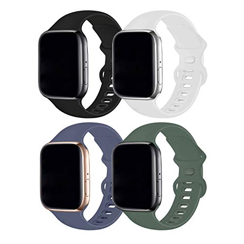 Hotflow 4 Pack Compatible with Apple Watch Band 38mm 40mm,Sport Silicone Soft Replacement Band Compatible for Apple Watch Series SE/6/5/4/3/2/1 [S/M Size - Black/Pine Green/White/Lavender Gray]
