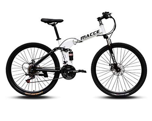 Desert Mountain Bike,Faltbares Fahrrad,24 Zoll 26 Zoll mit Aluminium-Rahmen, 21/24/27 Gang-Schaltung & Gabelfederung als Herren-Fahrrad Damen, Jungen-Fahrrad Mädchen,Weiß,24 inch 21 Speed