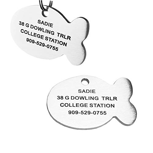 SINYUDUN Stainless Steel Pet ID Tags, Engraved Personalized Dog Tags and Cat Tags, Tags Front & Back up to 8 Lines of Custom Text, in Bone, Round, Heart, Fish, Ranger Badge, Rectangle… (Fish, Medium)