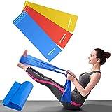 OUNDEAL Set di 3 Elastici Fitness, Fasce Elastiche Fitness, Bande Elastiche Fitness, Bande Elastiche Resistenza, Fascia Elastica Esercizi per Yoga, Pilates, Riabilitazione, Allenamento