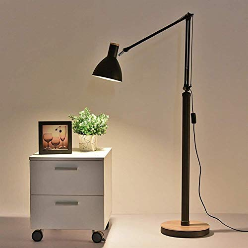 Chenbz Lámpara de Piso, Luces de Piso de la Sala de café Estudio de la Tabla Vertical Dormitorio lámpara de cabecera del Bulbo del Poder del Interruptor de botón incluida, Blanca (Color : Black)