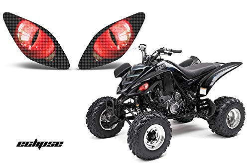 AMR Racing ATV Headlight Eye Graphics Decal Cover Compatible with Yamaha Raptor 660 2001-2005 Eclipse Red