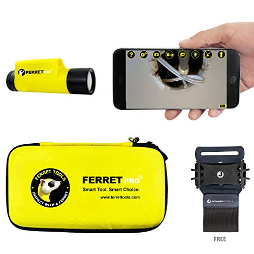 Jonard Tools CF-200 Ferret Pro – Multipurpose Wireless Inspection Camera & Cable Pulling Tool with Free Cell Phone Wristband - 2021 Newest Version