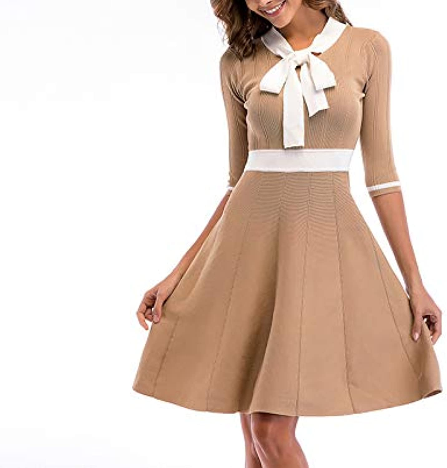 Summer Dress Ladies Fashion Bow Skirt in The Sleeves Large Swing Knit Temperament Skirt Prom Party Dress
