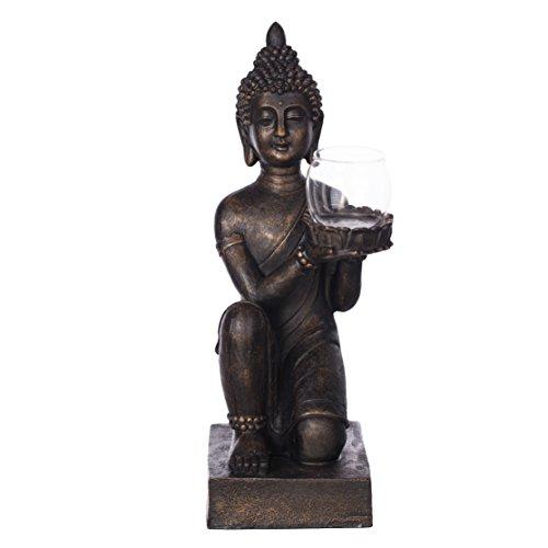 Willken Arts Buddha B9070N Bronze für Innen und Außen Figur 44cm mit Glas Windlicht Statue Gartendekoration Dekobuddha