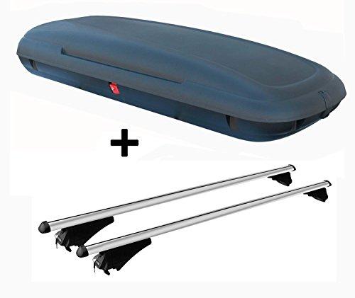 VDPCA480 Dachbox 480Ltr Carbon Look abschließbar + Alu Relingträger Tiger Silber kompatibel mit VW Passat (B8) Variant ab 2014 aufliegende Dachreling