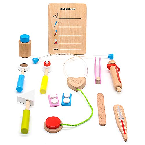 Arztkoffer Kinder Holzspielzeug Arzt Spielzeug Medizinisches Kit Doktor Spielset Rollenspiel für Kinder 3 4 5 Jahre(12 PCS)