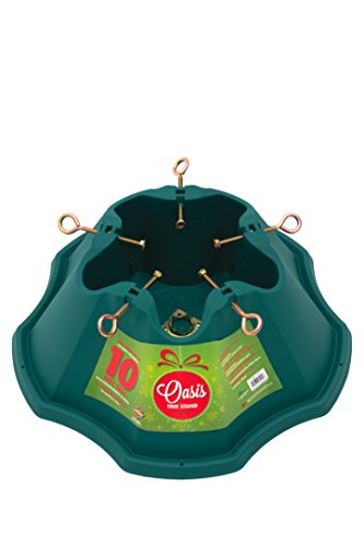 JACK-POST Oasis Christmas Stand, for Trees Up to 10-Feet, 1.5-Gallon Water Capacity, Large, Green