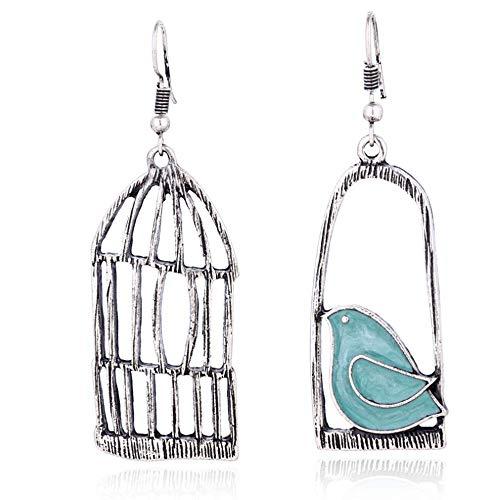 YINLIN Fashion Antique Lovely Asymmetric Birdcage Dangle Earring Enamel Bird In Cage Animal...