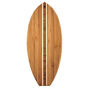 Totally Bamboo Lil  Surfer Surfboard Shaped Bamboo Serving and Cutting Board 14-1/2  x 6  Brown