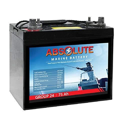 Absolute Battery 12V 75AH Group 24 SLA Dual Purpose AGM Marine Combo Post Battery