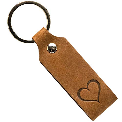 ANKERPUNKT Schlüsselanhänger Leder mit Gravur Herz - Geschenke für Frauen Männer - Muttertagsgeschenk Vatertagsgeschenk Geburtstag Jahrestag - Made in Germany (dunkelbraun) used look