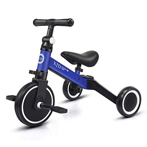 XJD 3 in 1 Kids Tricycles for 1-3 Years Old Kids Trike 3 Wheel Toddler Bike Boys Girls Trikes for Toddler Tricycles Baby Bike Trike Upgrade 2.0, Blue
