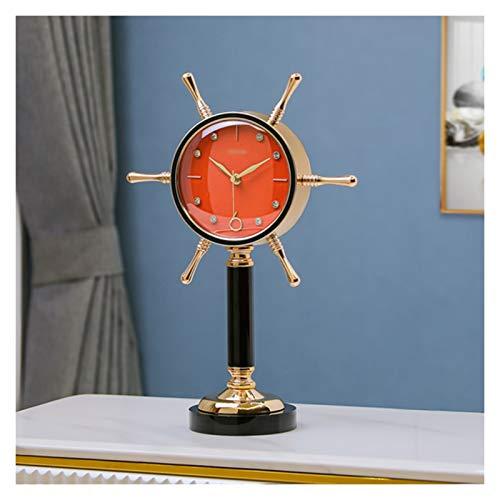 Reloj digital Desktop Desktop Decorative Desk Clock Metal Tabketop Clock se puede utilizar en el dormitorio, sala de estar, estudio, (verde oscuro / blanco / naranja) Despertador Digital ( Color : A )