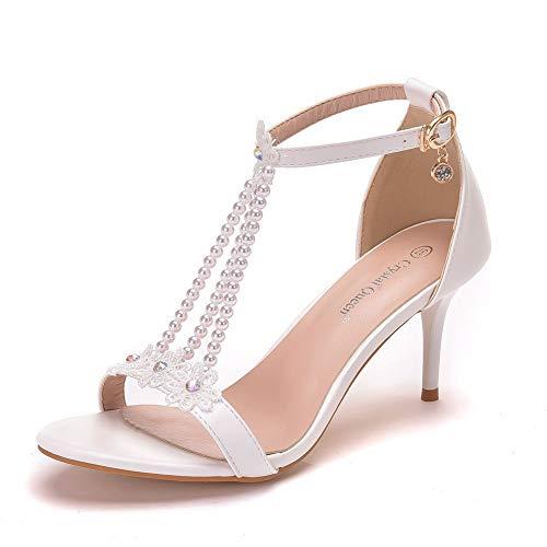 WRJ Zapatos Novia Zapatos Señoras Boda Dedo Pie Abierto Los Zapatos De Vestir De Cuero Dama De Honor del Baile Clásico Sandalias De Tacón Alto Plantilla De La Hebilla,35
