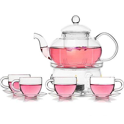 TAMUME Juego de Té de Vidrio Tetera y Calentador de Té con 4 Tazas y 4 Platillos (600ML+ 80ML*4)