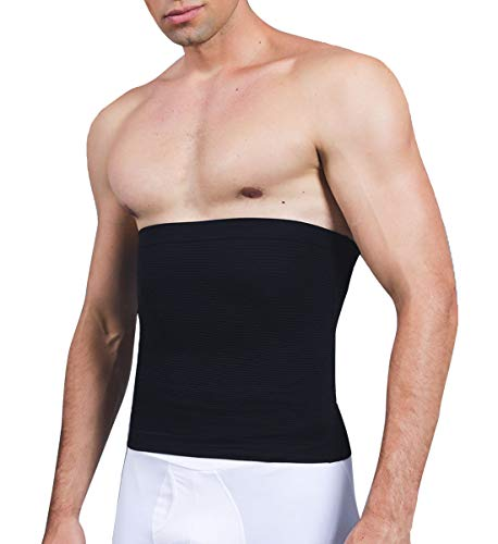 SLIMBELLE Taillenformer Herren Taillenmieder Figurformende Bauchbinde Gürtel Bauchgürtel Body Shaper Shapewear Taille Slimming Korsett Kompression Unterwäsche in schwarz o. weiß (Schwarz, L)