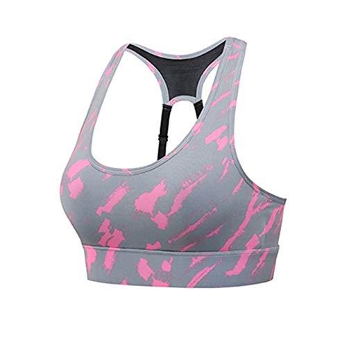 Sujetadores deportivos para mujeres activas a prueba de choques sin mangas sin mangas para ejercicios de yoga Fitness Fitness (Bands Size : Large, Color : CAMO PINK)