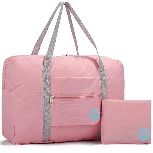 WANDF Leichter Faltbare Reise-Gepäck Handgepäck Duffel Taschen Übernachtung Taschen/Sporttasche für Reisen Sport Gym Urlaub Weekender handgepaeck (A - Rosa)